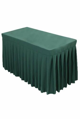 Tina 6ft Polyester Fitted Tablecloth Skirt Wedding Banquet Trade Show - GREEN