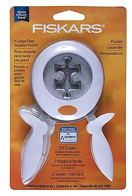 NEW XL Fiskars Squeeze Punch Puzzled Puzzle Piece Scrapbooking Paper Crafts