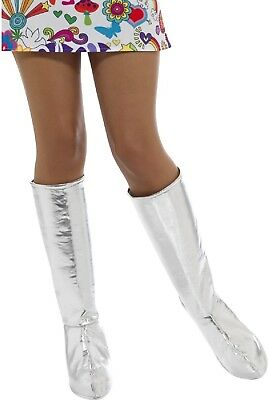 Ladies Hippie 70s Silver GoGo Boot Cover Fancy Dress Costume Outfit Accessory (Gogo Outfit)