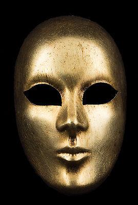 Mask Venice Face Volto Golden Paper Mache Craft Standing 2262 V50