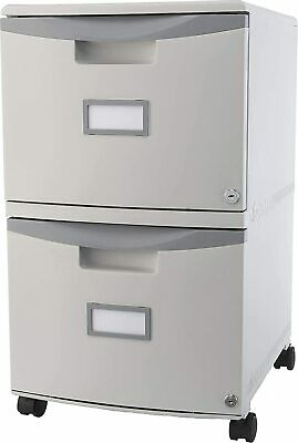 Storex Two-drawer Mobile File Cabinet With Lock 14.8 X 18 X 26-inch Gray