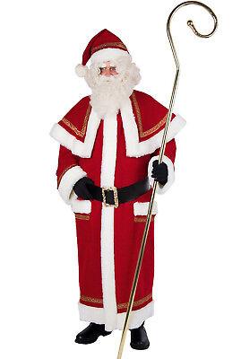 Nikolaus Kostüm Weihnachtsmann-Mantel Wollstoff mit nostalgischer Goldborte