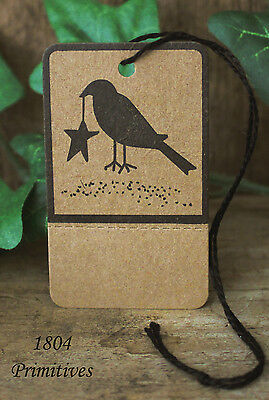 50 Primitive Crow Kraft Hang Tags Pre-strung & Perforated