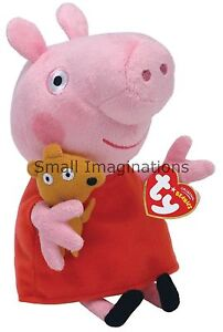 Peppa Pig 6 inch Plush TY Beanie Babies Soft Toy with Teddy