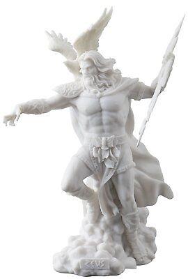 Zeus Holding Thunderbolt With Eagle Greek Mythology White Statue -Gift Boxed