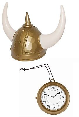 Deluxe Flava Flav Viking Helmet Clock Necklace Rapper Funny Costume Accessory