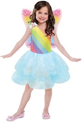 Mädchen Offiziell Barbie Rainbow Fee Tutu Kleid + Flügel Kostüm - Barbie Fee Kostüm Mädchen