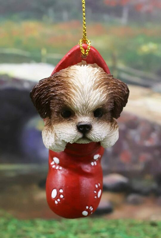 Ebros Lifelike Shih Tzu Puppy Dog in The Sock Small Hanging Ornament Figurine