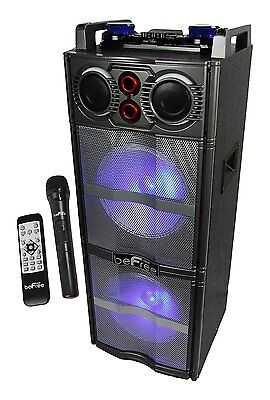 BEFREE SOUND DOUBLE SUBWOOFER BLUETOOTH DJ PA PARTY SPEAKER WITH LIGHTS MIC USB](Phone Party)