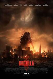 AMAZING-Godzilla-2014-DOUBLE-SIDED-ORIGINAL-MOVIE-Film-POSTER-city-monster-RARE