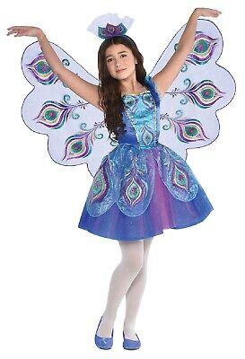 Mädchen Bunte Pfau Vogel Karneval Kostüm & Flügel - Pfau Kostüm Flügel