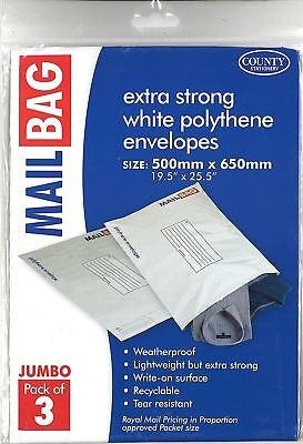 County Extra Strong White Polythene Envelopes Mailing Bags - Jumbo - 500 x 650mm