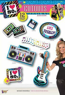 I Love the 80's Totally Retro Decades Awesome Theme Party Decoration Cutouts - 80 Theme Party Decorations