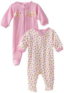 Gerber Girls Zip Front Sleep N Play Flower Design