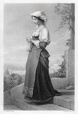 "Amazing Charles JALABERT 1800s Engraving ""Young Girl Knitting"" SIGNED Framed COA"