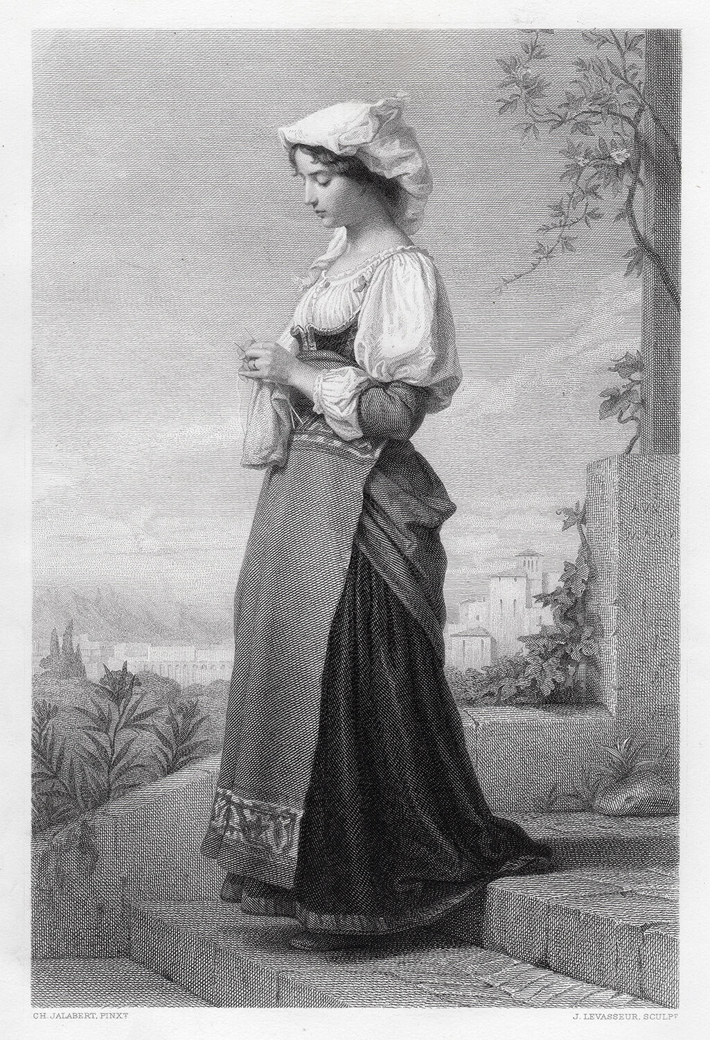 Amazing 1800s Charles JALABERT Engraving Young Girl Knitting SIGNED Framed COA - $229.00
