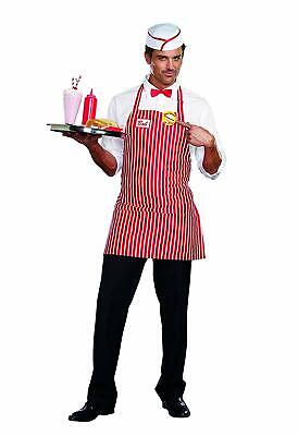 Diner Dude 50's Waiter Soda Shop Retro Fancy Dress Up Halloween Adult Costume