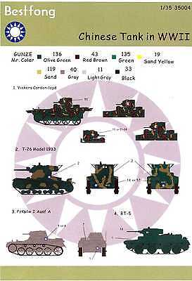 Best Fong Decals 1/35 CHINESE TANKS IN WORLD WAR