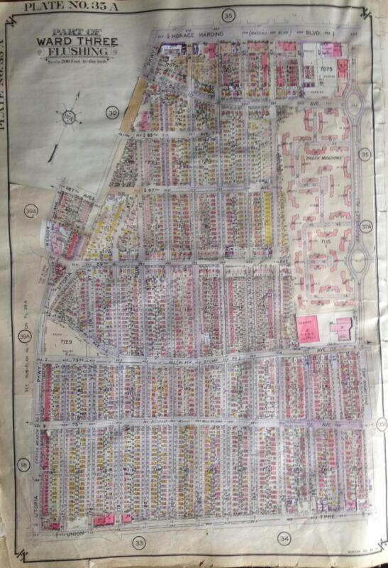ORIG 1939 FRESH MEADOWS QUEENS NEW YORK UTOPIA PARKWAY - 188TH ST ATLAS MAP