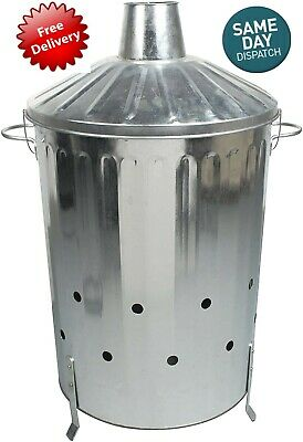 LARGE  STRONG   Galvanised Metal Incinerator Fire Burning Bin Locking Lid 90