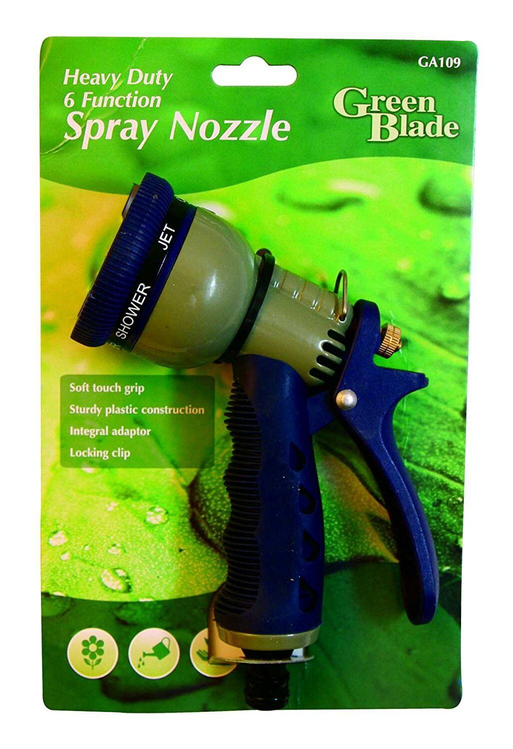Heavy Duty Spray Water Hose Gun Nozzle With 6 Dial Functions & Soft Touch Grip
