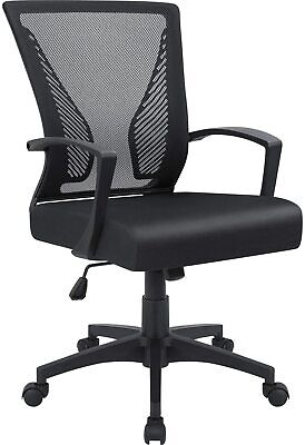 Office Mid Back Swivel Lumbar Support Desk Computer Ergonomic Mesh Chair