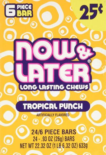Now & Later Original Taffy Chews Candy, Tropical Punch, 0.93 oz Bar, Pack of 24