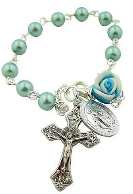 Rosebud Charms 2 - Blue Bead Rosary Bracelet with Rosebud and Miraculous Medal Charm, 7 1/2 Inch