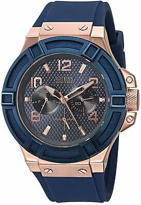 Guess Mens Blue Dial Watch ( GUESS U0247G3 Multi-Function Blue Dial Blue Silicone Men's Watch )