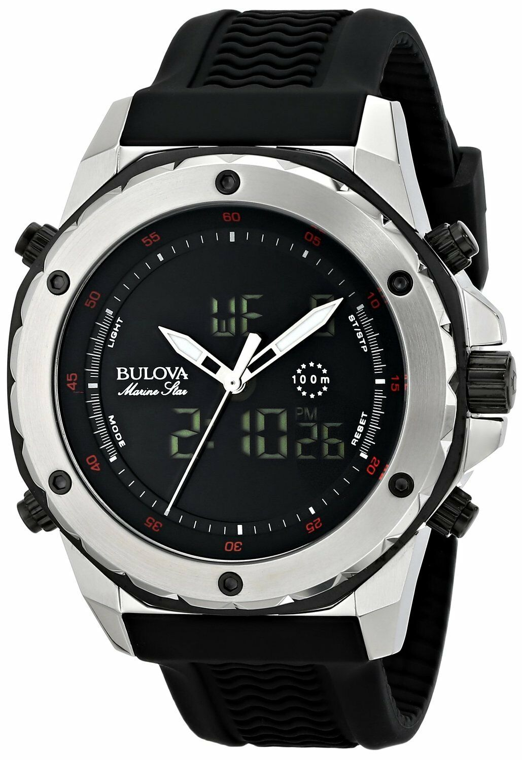 Bulova Men's 98C119 Stainless Steel Watch with Black Rubber Band