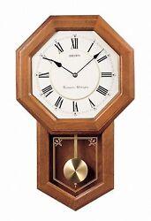 New Seiko Wall Pendulum Schoolhouse Clock Dark Brown Solid Oak Case, Brown
