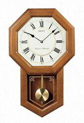Seiko Dark Brown Oak Case Westminster/Whittington Pendulum Wall Clock QXH110BLH
