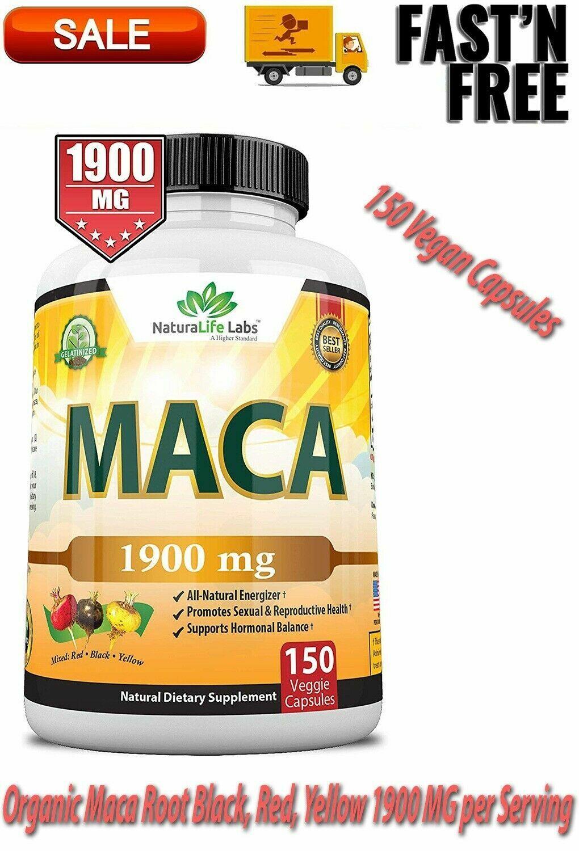 organic maca root black red yellow 1900mg
