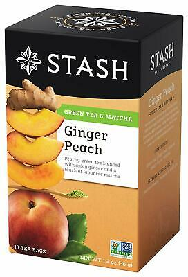 Stash Tea Green Tea, Ginger Peach with Matcha, 18 bags Ginger Peach Green Tea