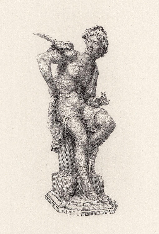 Striking Charles-Eugene Brunin 1800s Engraving Neapolitan Fisherman Framed COA - $224.00