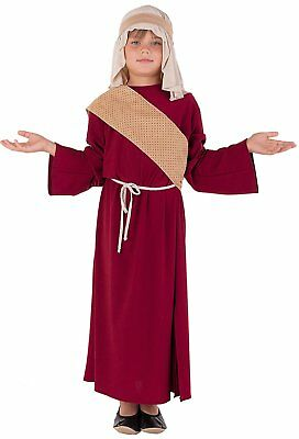 Deluxe Josef Kostüm Krippenspiel für Kinder rot-beige - Hirte Josef Kostüm Kind