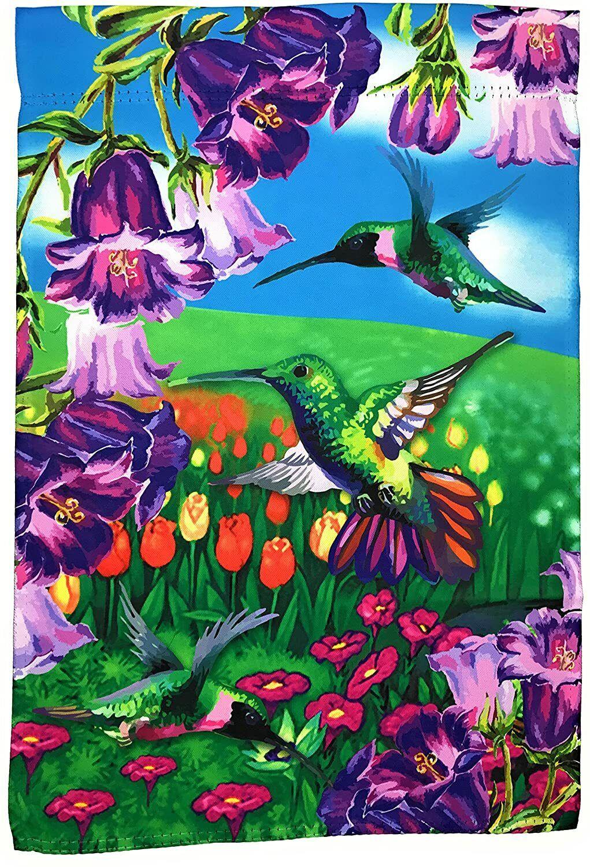 "Hummingbird Garden Flag Yard Decoration; 12"" x 18""; Double S"