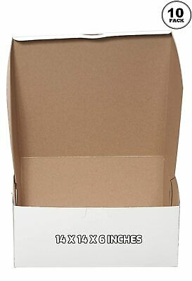 10 Pack White Bakery Pastry Boxes - 14 X 14 X 6 Inches