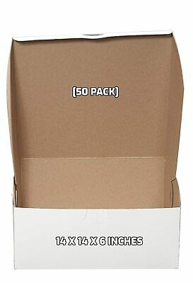 50 Pack White Bakery Pastry Boxes - 14 X 14 X 6 Inches