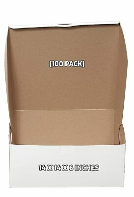 100 Pack White Bakery Pastry Boxes - 14 X 14 X 6 Inches