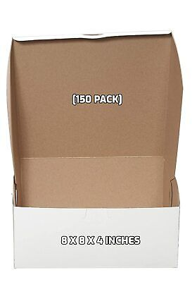 150 Pack White Bakery Pastry Boxes - 8 X 8 X 4 Inches