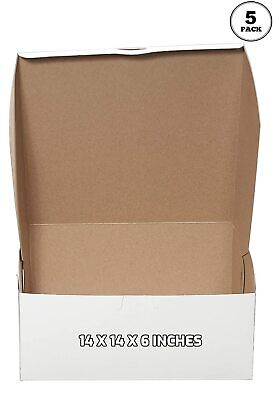 5 Pack White Bakery Pastry Boxes - 14 X 14 X 6 Inches
