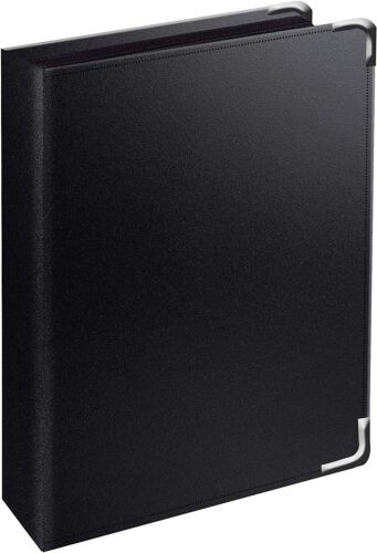 3-Ring Zippered Binder with Metal Corners,Label Holder,1-1/4 Inch, Black