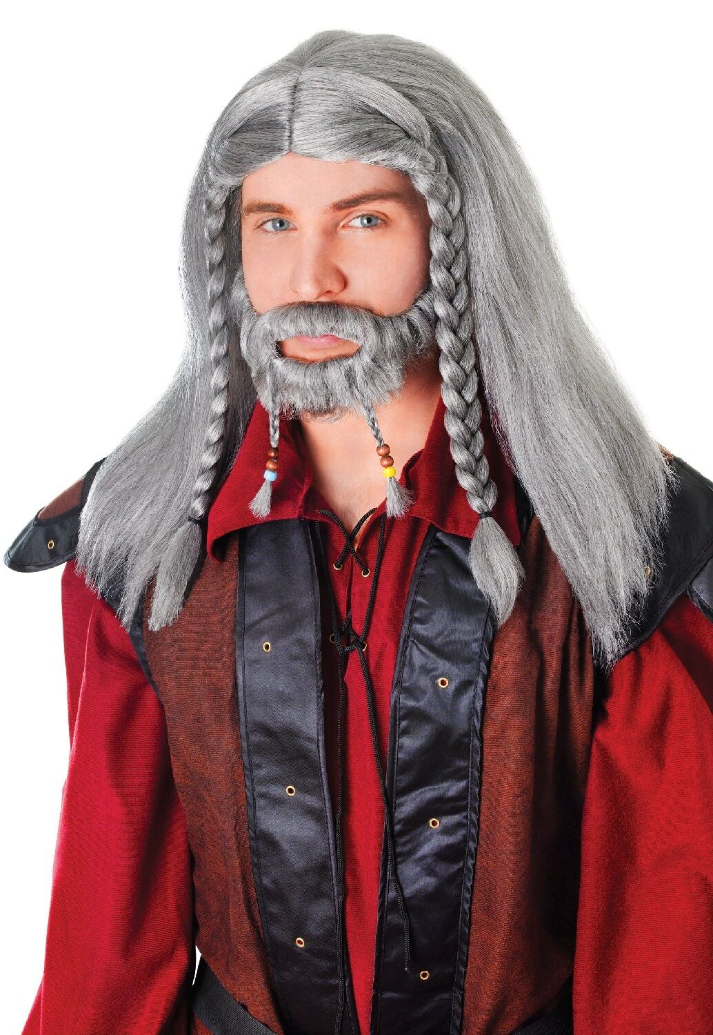 mens grey medieval plaited wig goatee beard wizard fancy dress