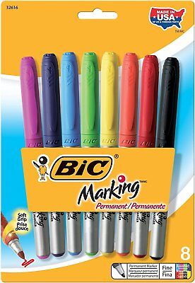 8-pk Bic Mark-it Marking Permanent Markers Assorted Ink Fine Point New