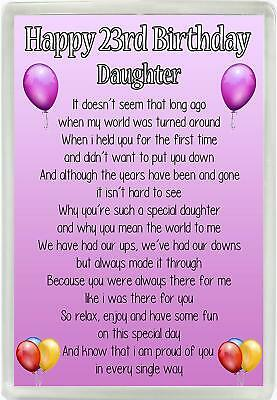 Happy 23rd Birthday Daughter Poem Jumbo Magnet Ideal Birthday Gift M93 ()