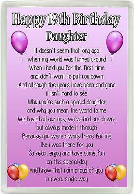 Happy 19th Birthday Daughter Poem Jumbo Magnet Ideal Birthday Gift M90