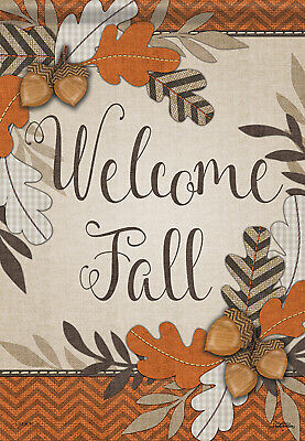 crafty fall welcome house flag autumn leaves