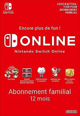 Abonnement 12 mois Nintendo Switch Online (pour 1 compte dans groupe familial)