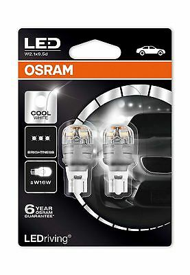 Osram Premium LED W16W 921 (T16) Cool White 9213CW-02B 3W Wedge Bulbs 6000K Twin